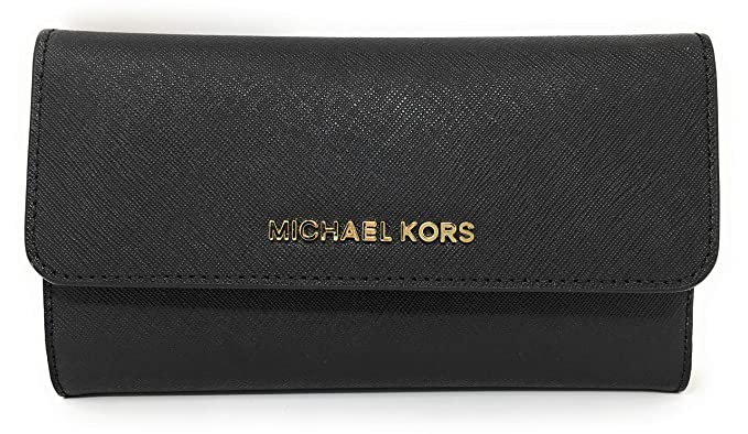 c7daf4d6a4295 Michael Kors Jet Set Travel Large Saffiano Leather Trifold Wallet (Black)
