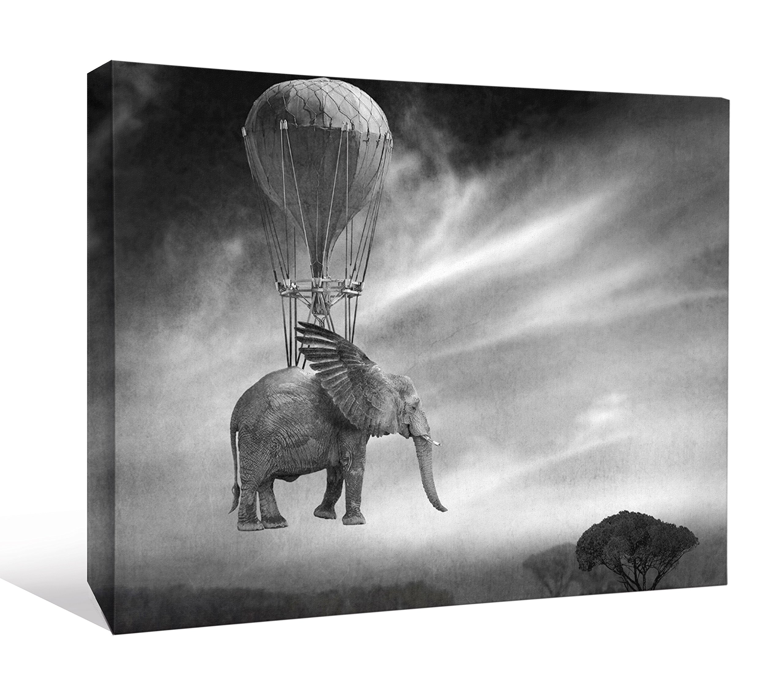 JP London DDCNV1 X 1015040 Ready to Hang Feature Wall Art Africa Is Moving. Elephant Hot Air Balloon Steampunk 2'' Thick Heavyweight Gallery Wrap Canvas 60'' x 40''