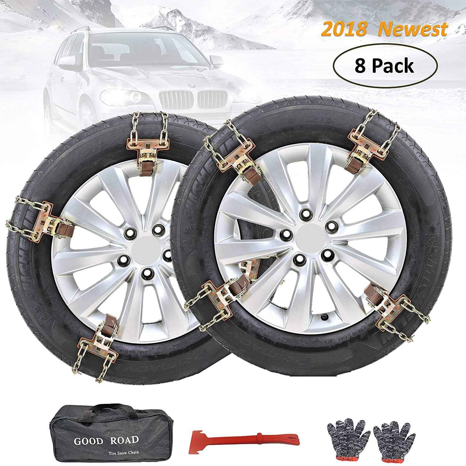 Fun-Driving 8 Pack Tire Chains,Snow Chains,Heavy-Duty,Durable and Adjustable,for SUV,Truck,RV, ATV, Tire Width 205-275mm/8-10.8' Tire Width 205-275mm/8-10.8