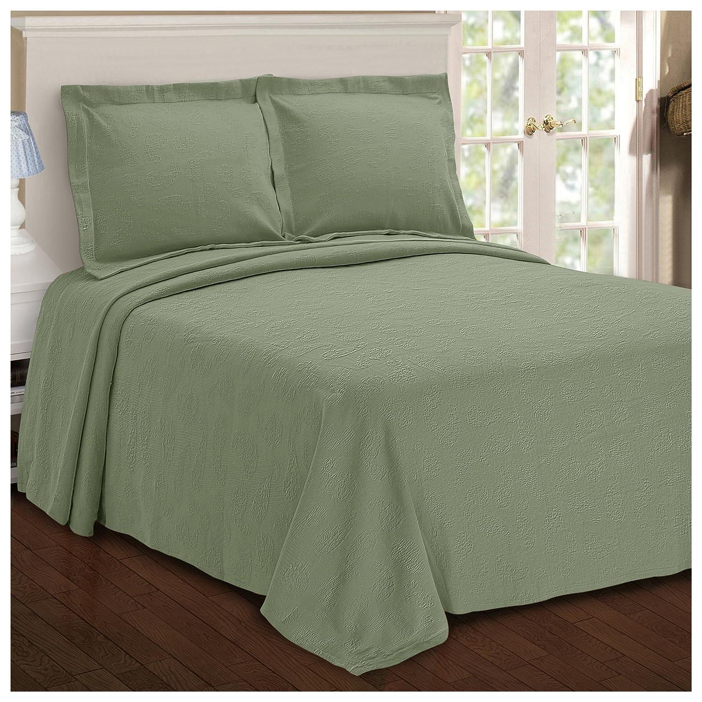 Superior Paisley Jacquard Matelass Bedspread - 100% Cotton Quilt with Matching Pillow Shams, Matelass Coverlet, Sage, King Size B01NBAZ79S
