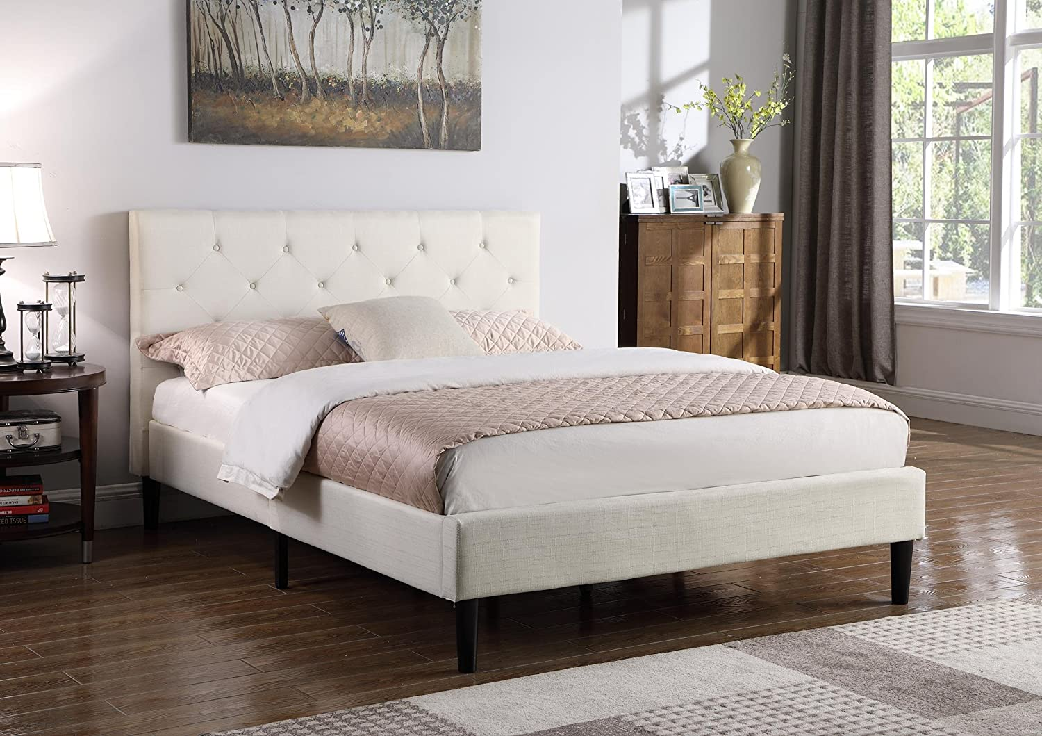 Home Life Premiere Classics Cloth Light Beige Silver Linen 51 Tall Headboard Platform Bed with Slats King – Complete Bed 5 Year Warranty Included 021