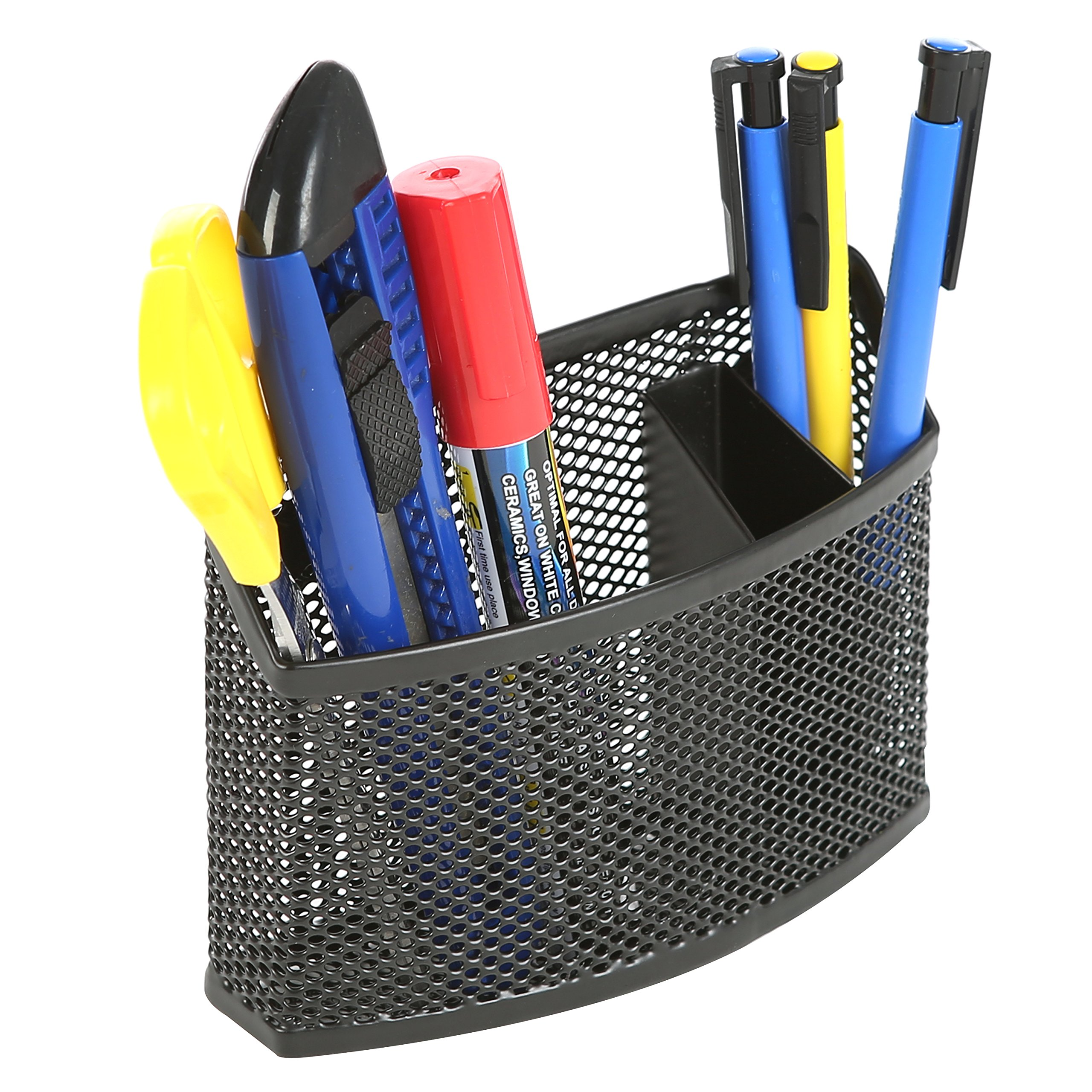 Magnetic Black Metal Mesh Curved 3 Compartment Office Supply Organizer and Storage Basket