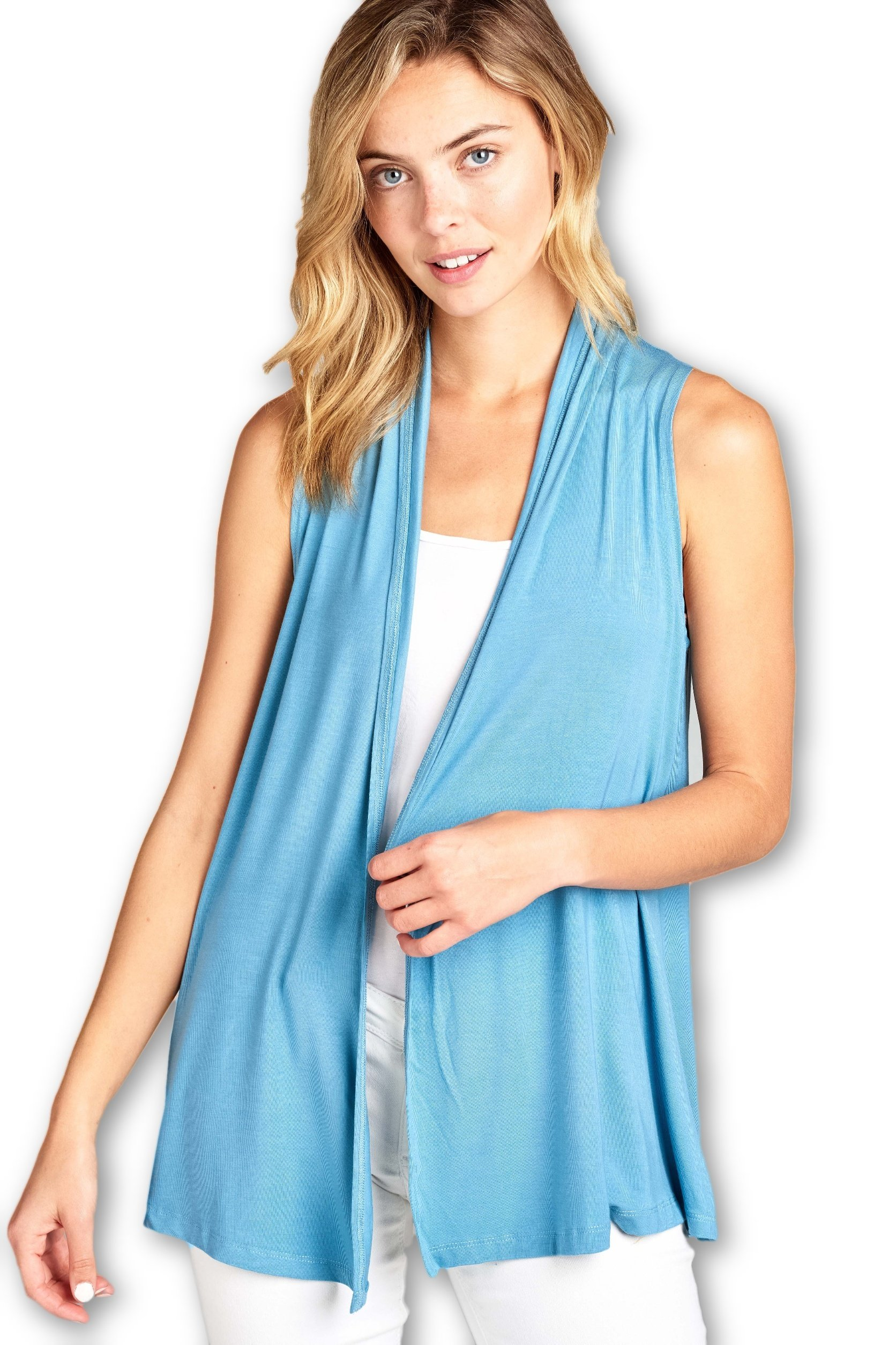 ReneeC.. Women's Extra Soft Natural Bamboo Sleeveless Cardigan - Made in USA (Small, Blue Glass)