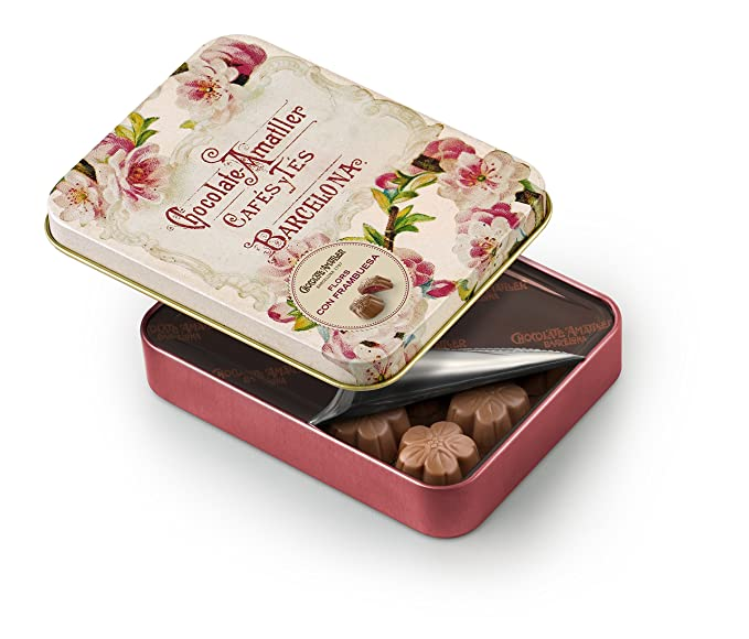 Chocolate Amatller Flors - Bombones chocolate con leche y Frambuesa en caja metal - 4 cajas