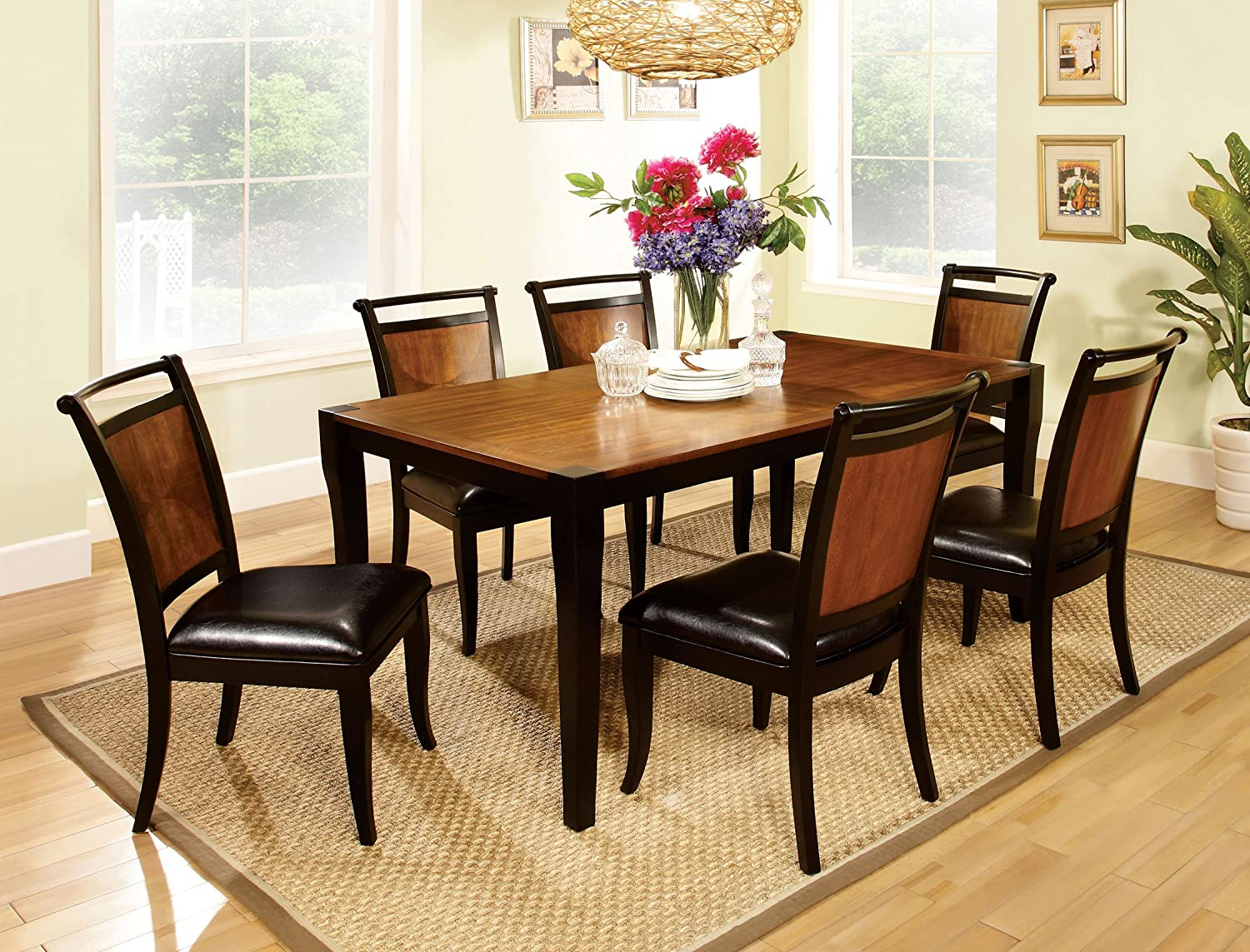 Furniture of America Sahrifa 7-Piece Duotone Dining Table Set, Acacia and Black Finish