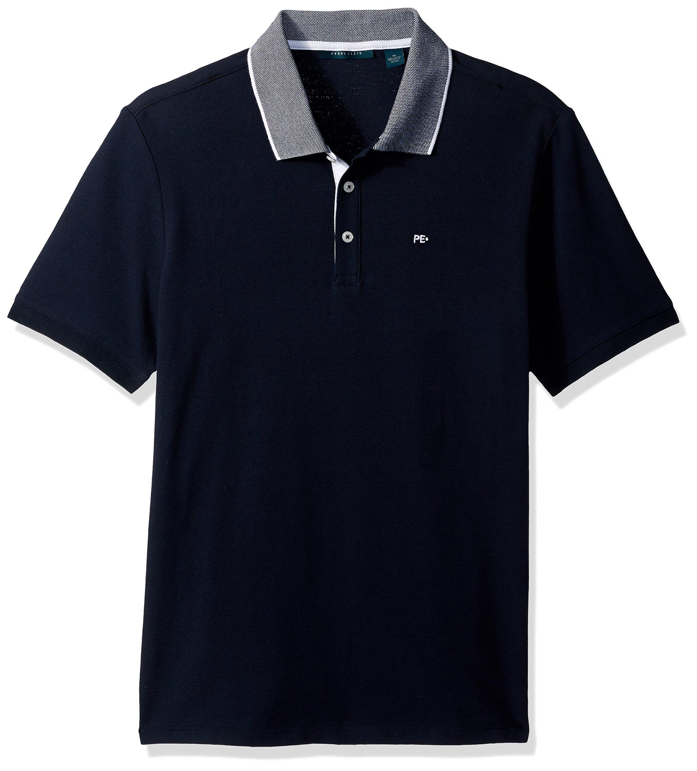 Perry Ellis Men's Pique Logo Polo Shirt, Dark