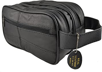 Large Black LEATHER WASH BAG zipped sections cowhide toiletries toiletry travel