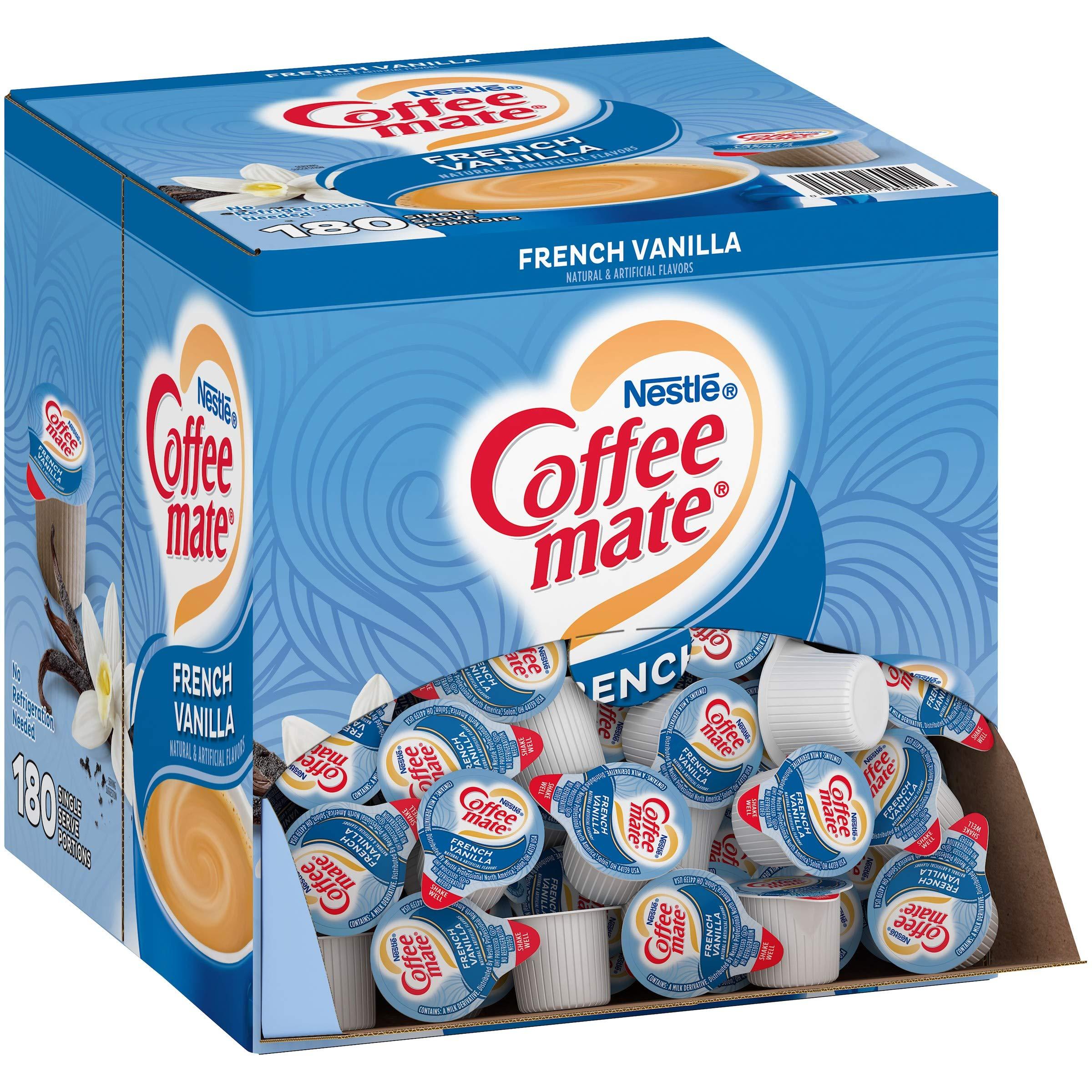 Nestle Coffee mate Coffee Creamer, French Vanilla, Liquid Creamer Singles, Non Dairy, No Refrigeration, Box of 180 Singles