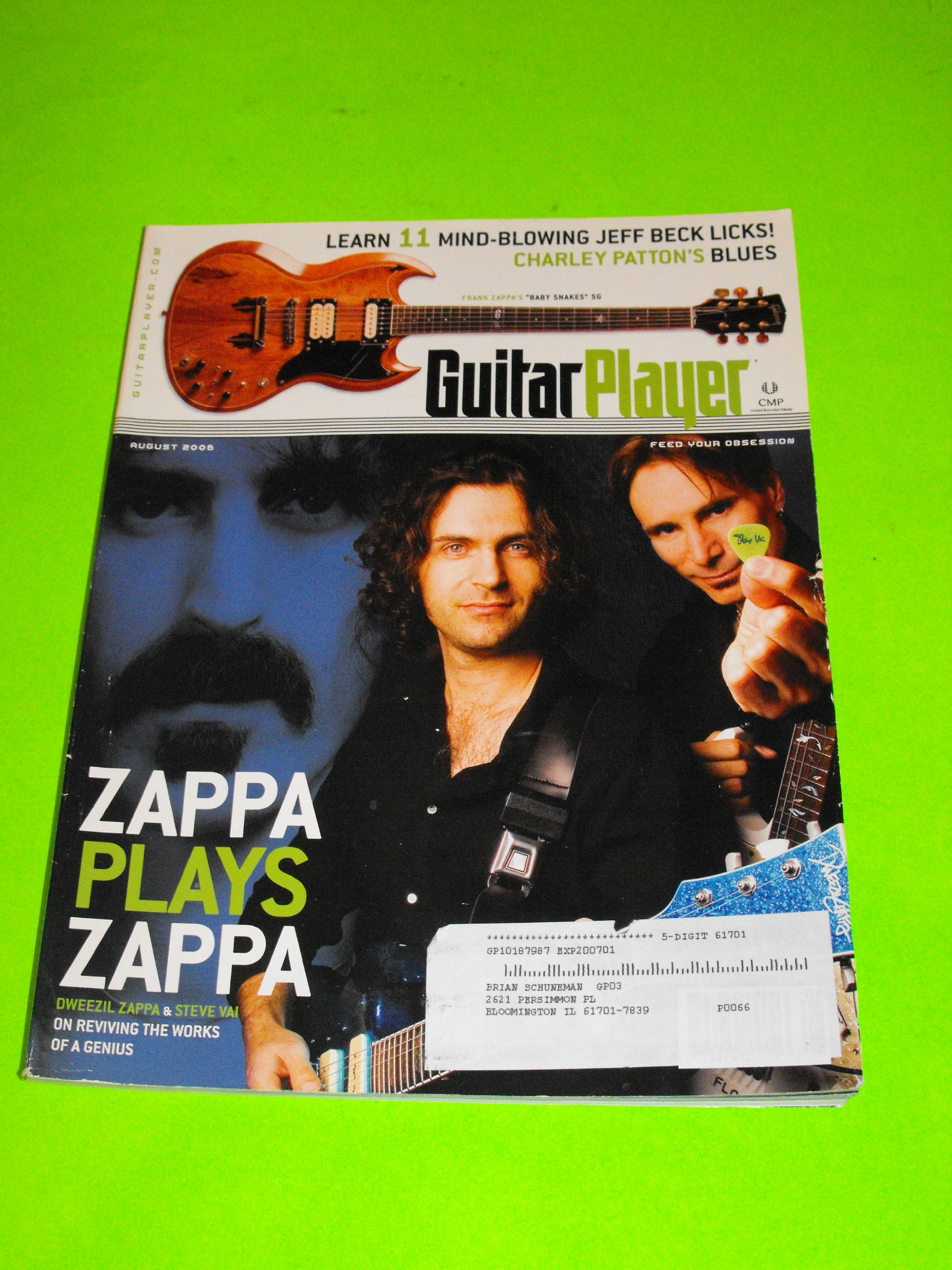 Dweezil Zappa & Steve Vai (Cover), Jeff Beck Licks, Charley Patton's blues (Guitar Player Magazine - August 2006) ebook