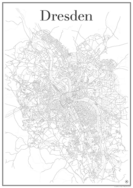 Map Of Germany Showing Dresden.Dresden City Map Poster Art Print Road Network Showing Unique