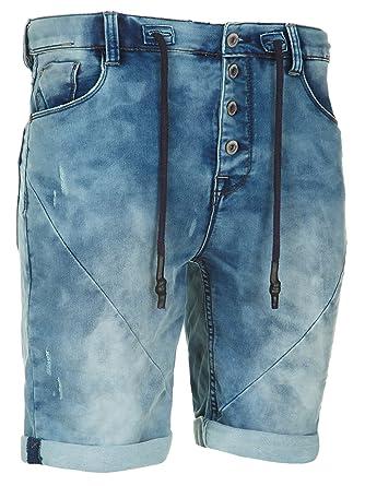 e547867ceaef Sublevel Herren Sweat Denim Bermuda Shorts kurze Hose Bermuda Sweatpants  Vintage Used Look Jeans  Amazon.de  Bekleidung