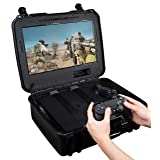 Case Club Waterproof Playstation 4 Portable Gaming Station with Built-in Monitor & Storage for PS4 Controllers & Games (Color: BLACK)