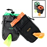 Mighty Paw Dog Treat Bag, Premium Quality Drawstring Closure Pouch, Includes Carabiner Hook, 1 Roll of Pick-up Bags and Reflective Belt