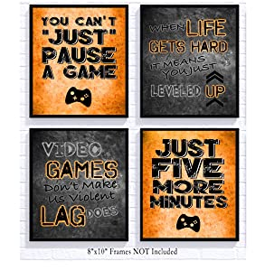 Video Game Themed Art Print Room Wall Decoration (Set or Four) Gamer (Orange)