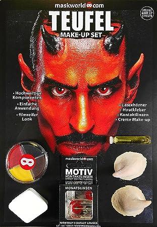 Maskworld Make Up Set Teufel Halloween Schminke Komplett Set Mit