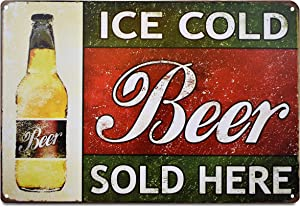 K&H Ice Cold Beer Sold Here Retro Metal Tin Sign Posters Café Bar Pub Restaurant Wall Decor 12X8-Inch