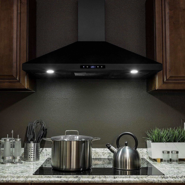 Golden Vantage - Campana de cocina de acero inoxidable pintada en negro con panel táctil y luces LED: Amazon.es: Grandes electrodomésticos