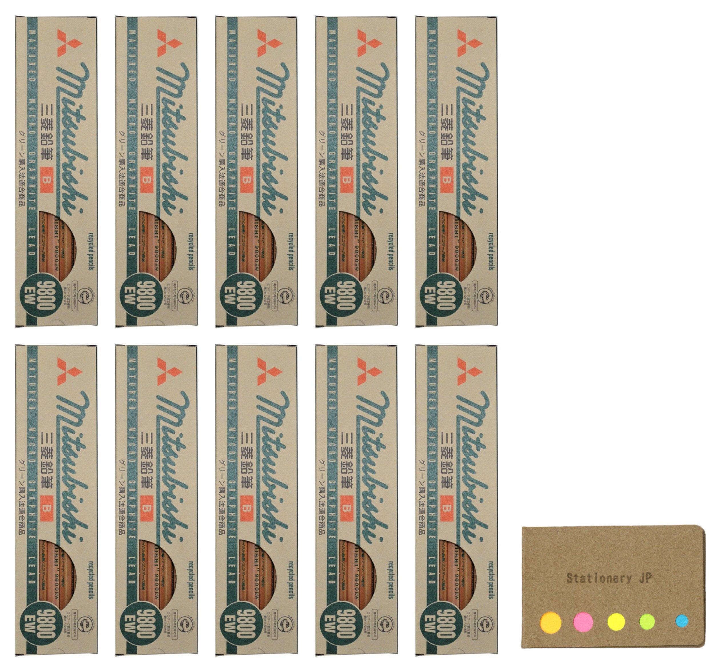 Uni Mitsubishi 9800EW Recycling Pencil, B, 10-pack/total 120 pcs, Sticky Notes Value Set