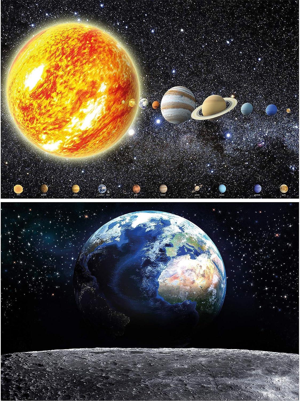 GREAT ART Juego de 2 carteles XXL - Tierra y Sistema Solar - cada uno la Luna universo astronomía Vía Láctea decoración mural cartel de la pared foto de pared planetas (140 x 100 cm)
