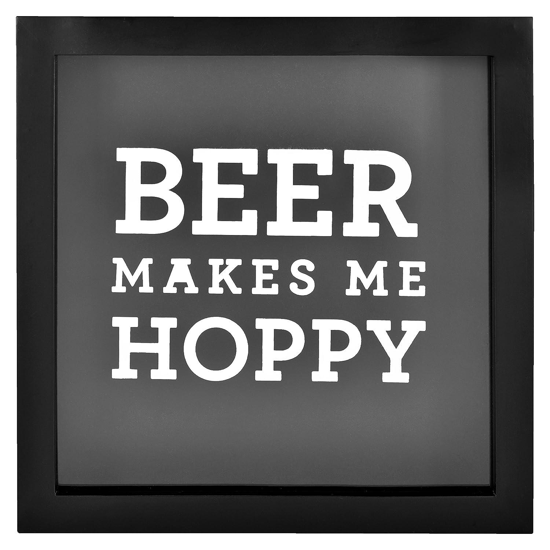 "MCS Bar None Hoppy Beer Cap Collector Shadowbox, 10""x10"", Brown"