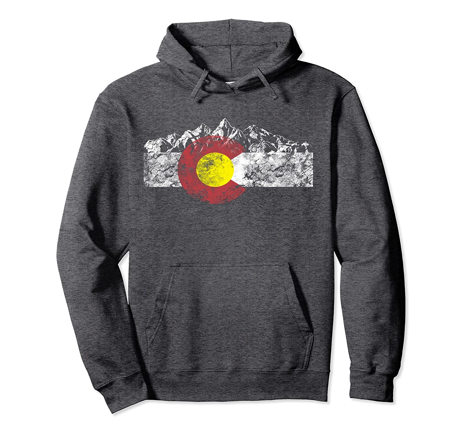 Colorado Flag and Mountains - Rocky Mountains Hoodie-alottee gift