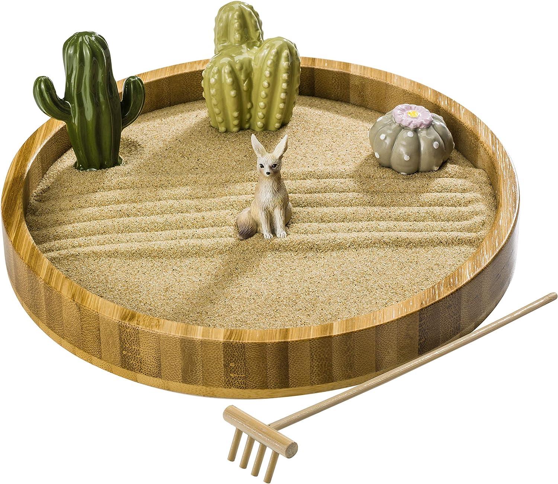 ZANTRA Cactus Zen Garden for Desk, Home and Office Decor, 7 Inch Wooden Sand Tray, 3 Ceramic Cactus Figurines, Desert Fox, Bamboo Rake, Info Guide – Mini Zen Garden, Stress Relief, Meditation