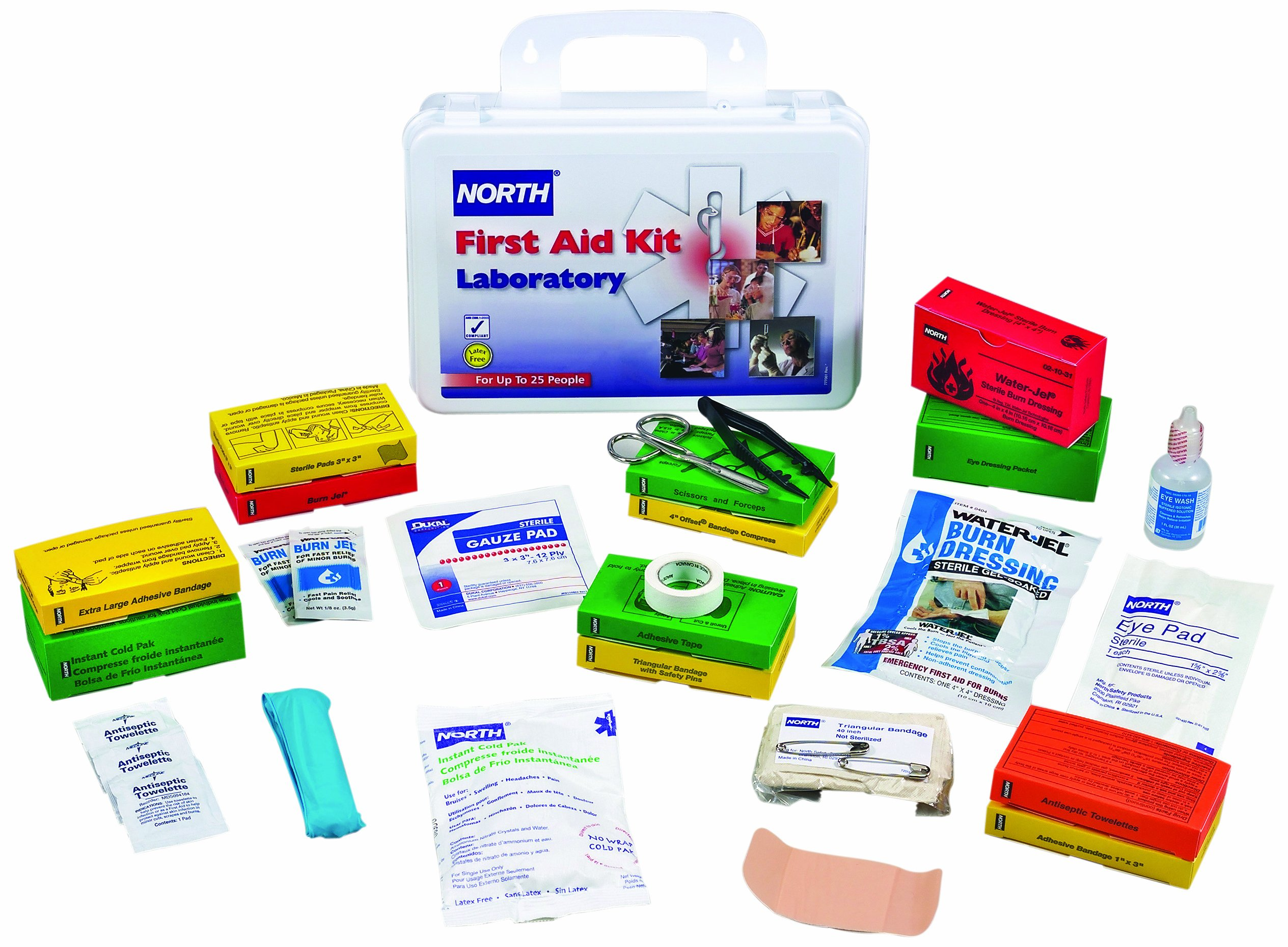 North by Honeywell 019750-0034L Laboratory First Aid Kit, 25 person, Plastic