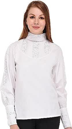 Cotton Lane Classic Blanco algodón Victorian/Edwardian Blusa. Tamaños UK 8 – 34