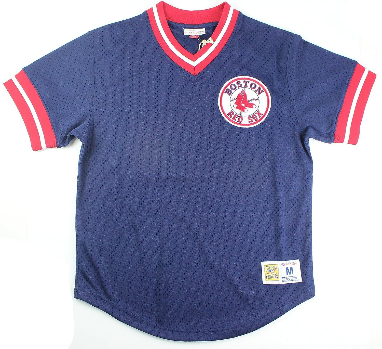 /Gorra Boston Red Sox Hombres de Malla Cuello de Pico Jersey Azul Marino Mitchell /& Ness/