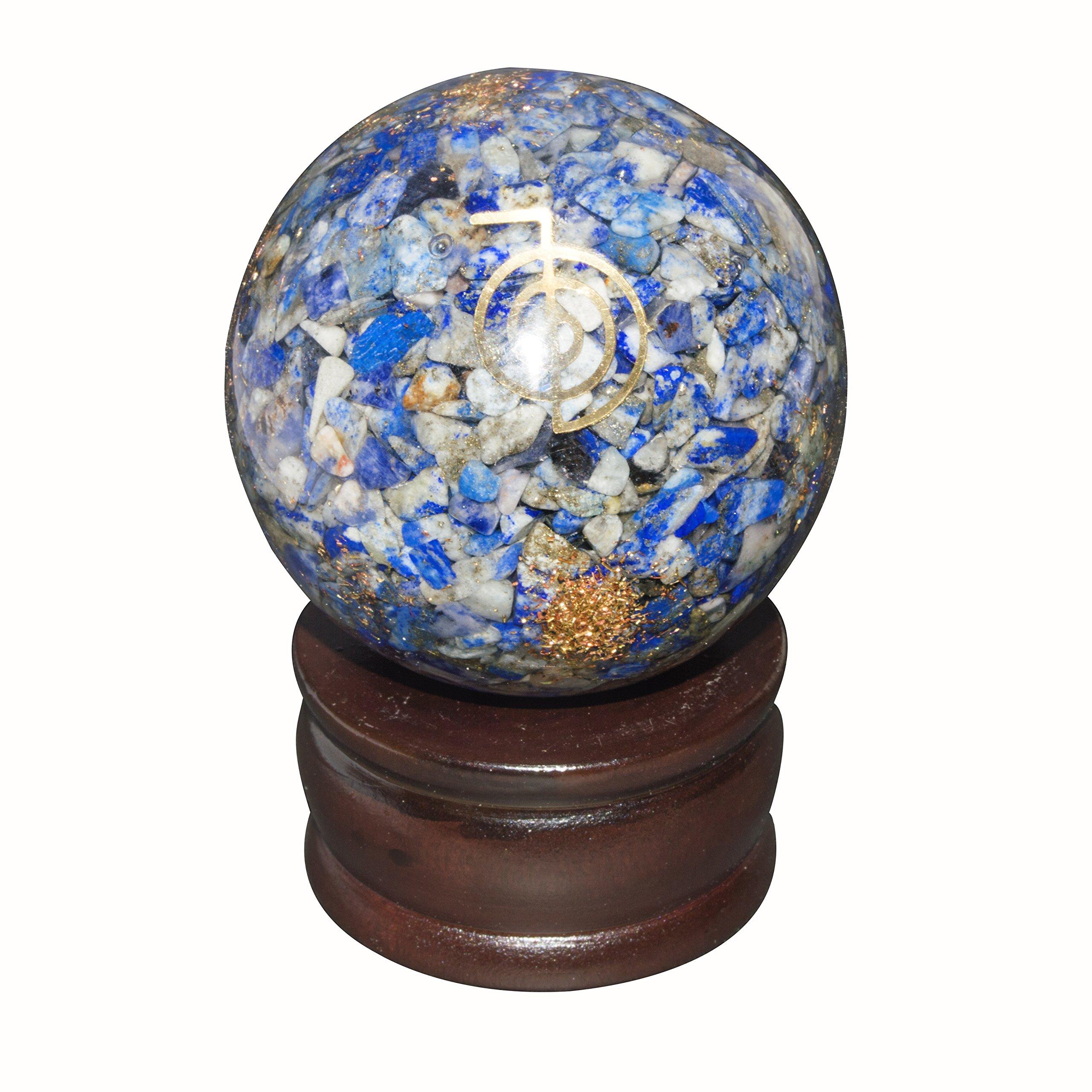 Crocon Lapis Lazuli Orgone Sphere Ball Cho Ku Rei Symbol Energy Generator for Reiki Healing Chakra Balancing & EMF Protection Size: 50-60mm