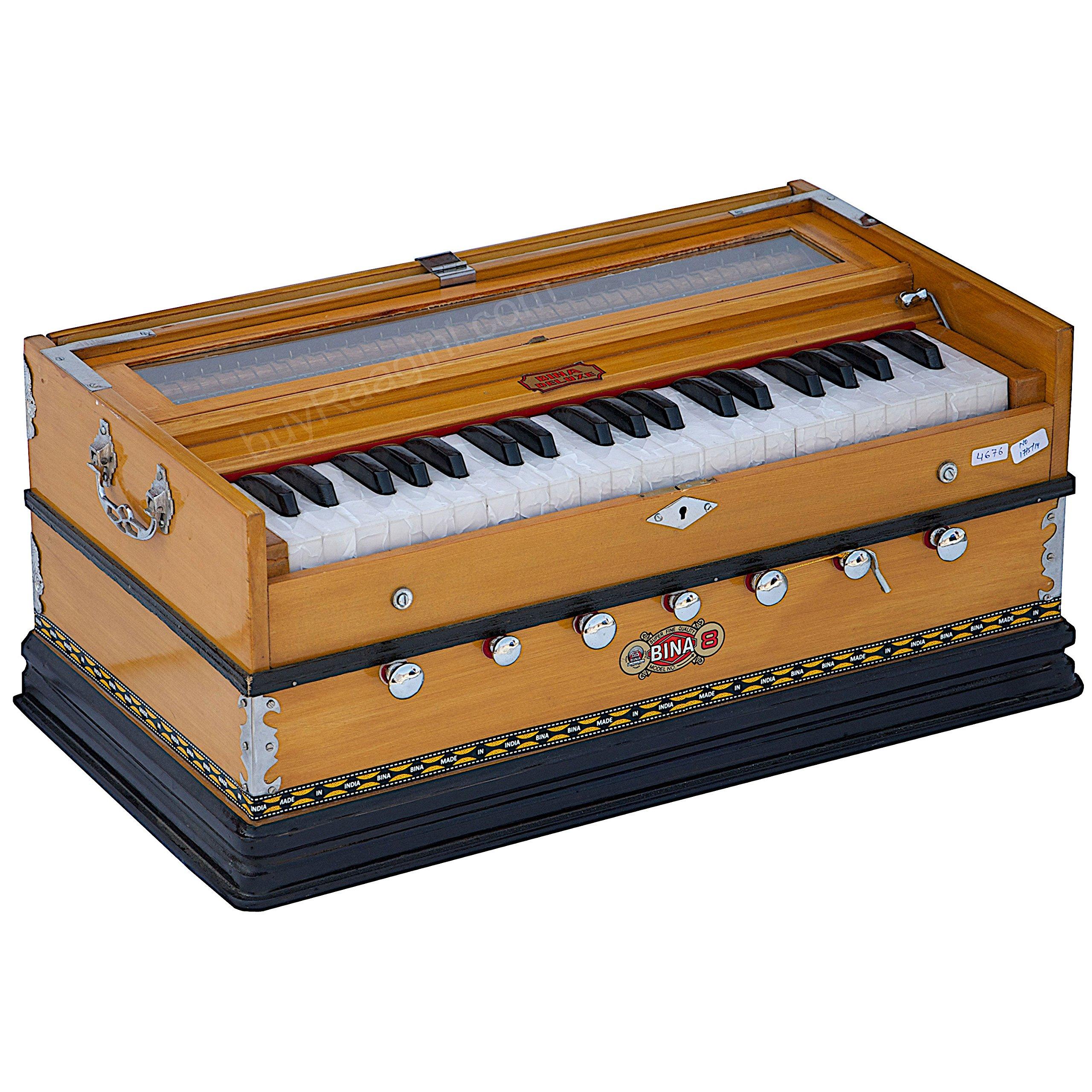 Harmonium Musical Instrument, BINA No. 8, 7 Stops, 3 1/4 Octaves, Coupler, Tuned To A400, Double Reed, Natural Color, Book, Nylon Bag (PDI-DJF) by Bina (Image #5)