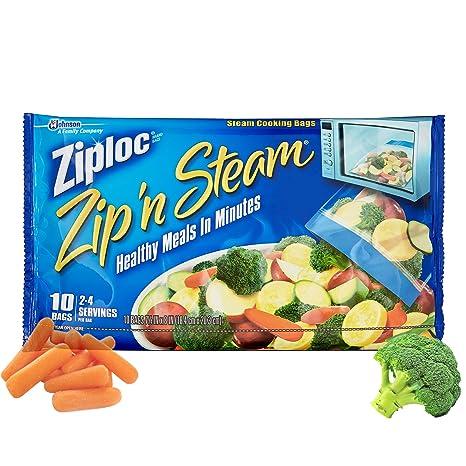 Ziploc ZipN Steam Cooking Bags, Medium, 10-Count (Pack of 4)