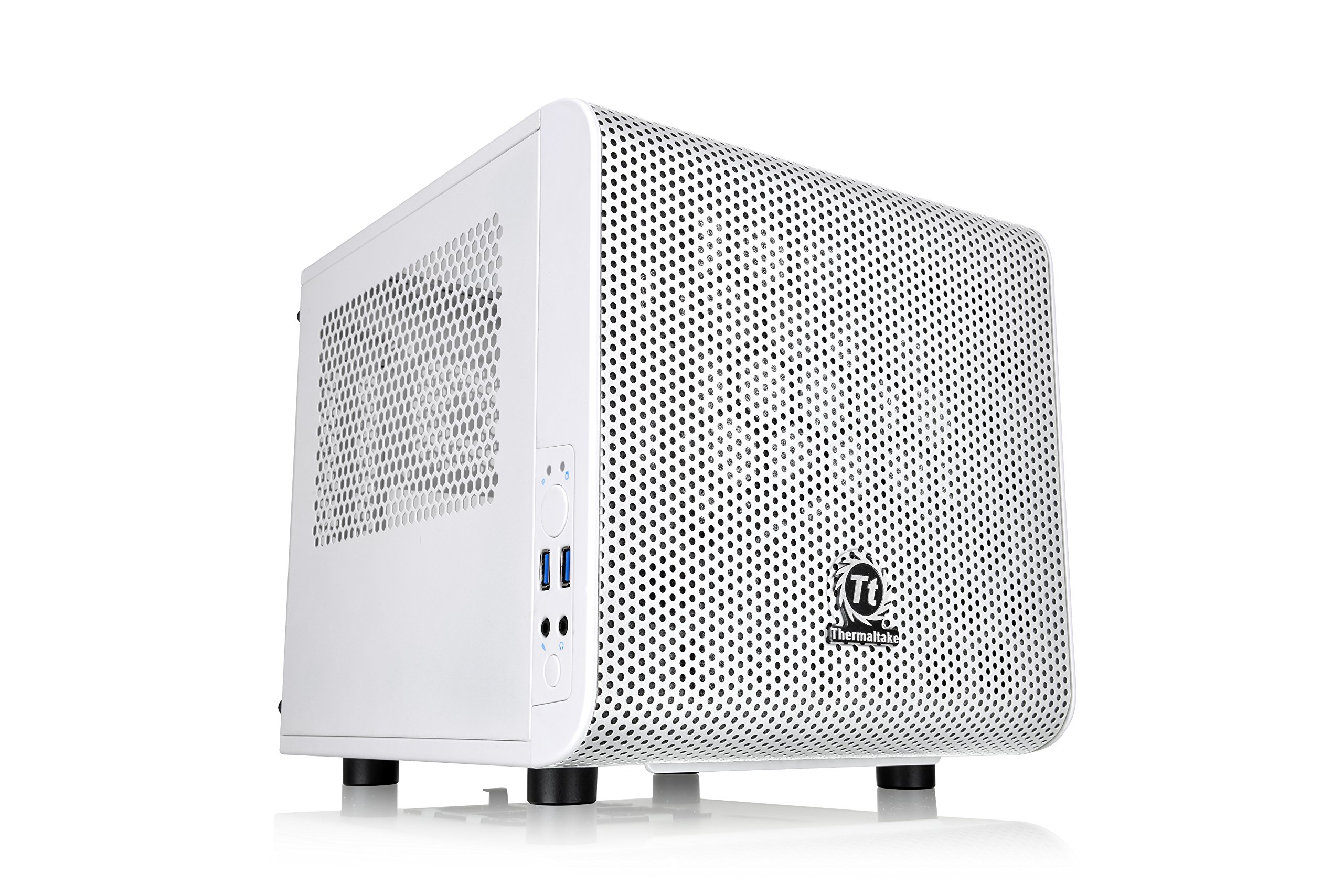 Thermaltake Core V1 Snow Edition SPCC Mini ITX Cube Computer Chassis CA-1B8-00S6WN-01, White