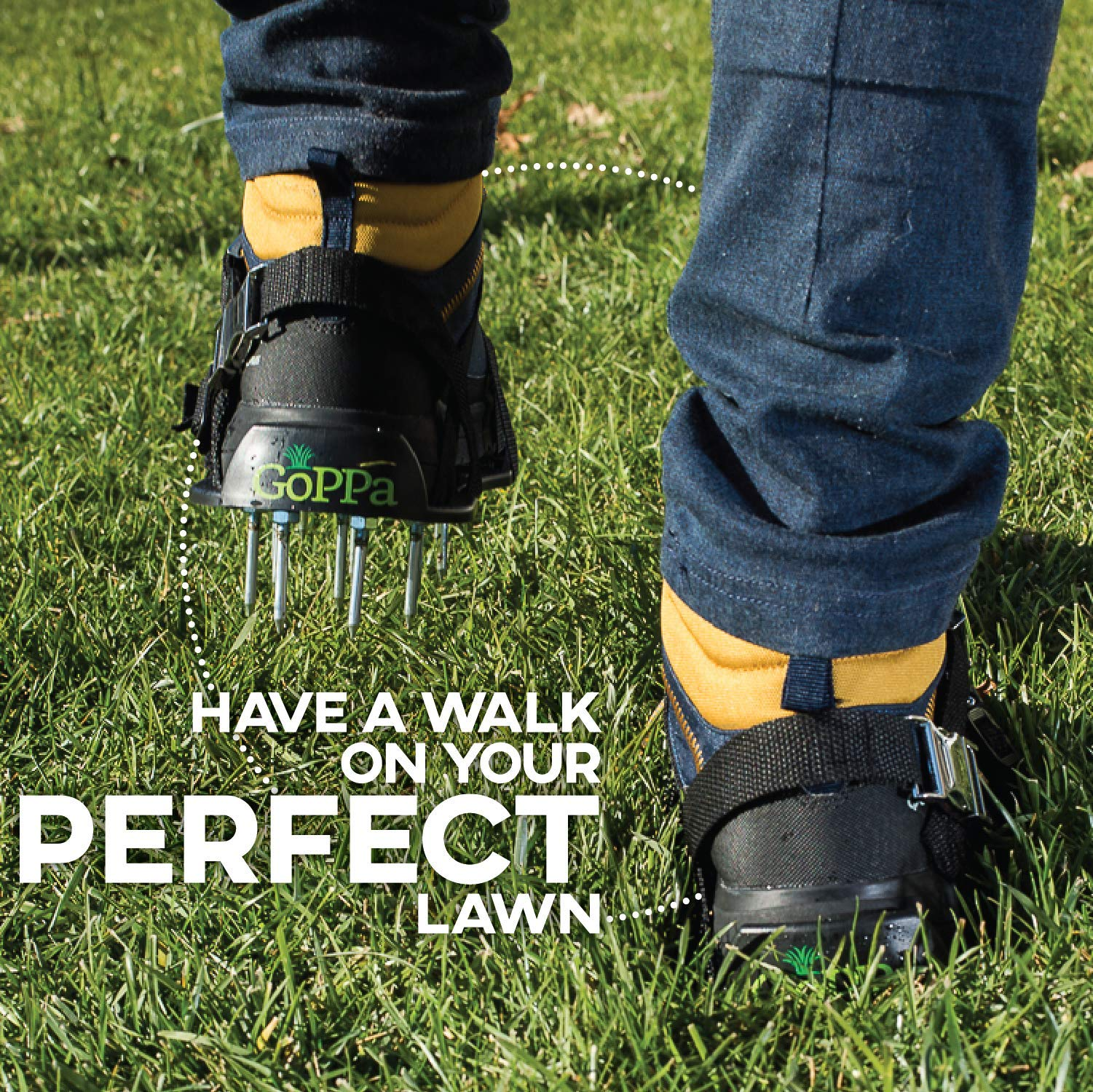 GoPPa Lawn Aerator Shoes – Heavy Duty Lawn Aerator Sandal, You only FIT Once. Ready for aerating Your Yard, Lawn, Roots & Grass – Strong Design by GoPPa (Image #9)