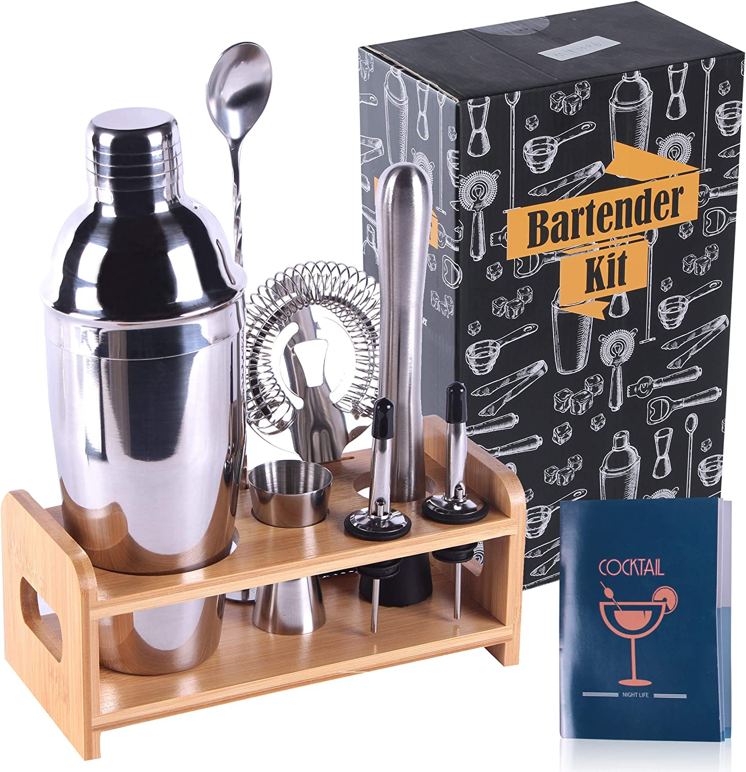RXXM Professional Bartender Kit 8 Pcs, Bartending Kit Stainless Steel Drink Shakers,Premium Bar Tool Set with Stylish Bamboo Stand&Recipes&Bag,Perfect Home Martini Cocktail Shaker Set(Silver)