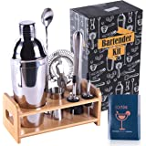 RXXM Professional Bartender Kit 8 Pcs, Bartending Kit Stainless Steel Drink Shakers,Premium Bar Tool Set with Stylish Bamboo