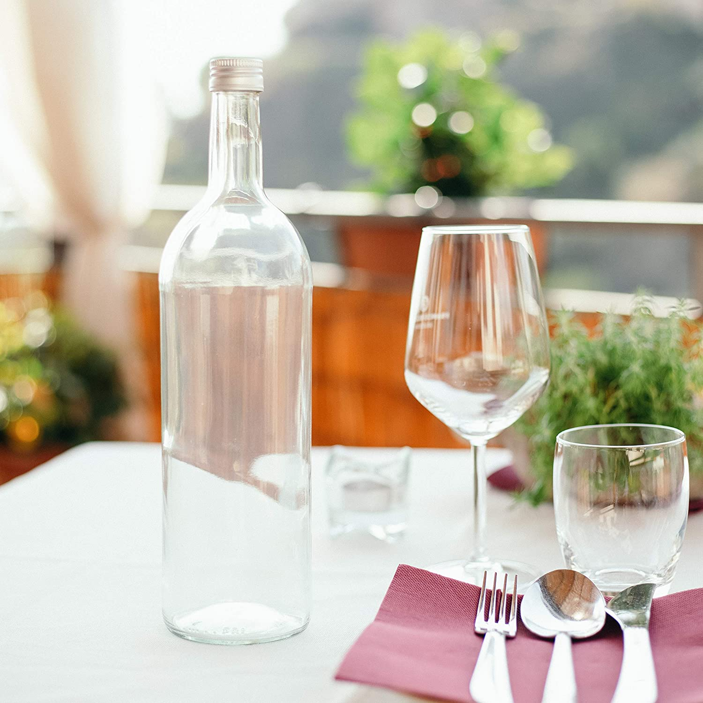 Per Bevande e Succhi. BrandPrint Set di 6 Bottiglie in Vetro per Acqua Modello Bordolese 1 Litro con Tappo a Vite in alluminio