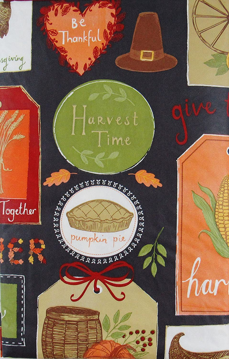 Elrene Home Fashions 52 x 52 Square Thanksgiving Autumn Symbols and Sentiments Patchwork Vinyl Flannel Back Tablecloth