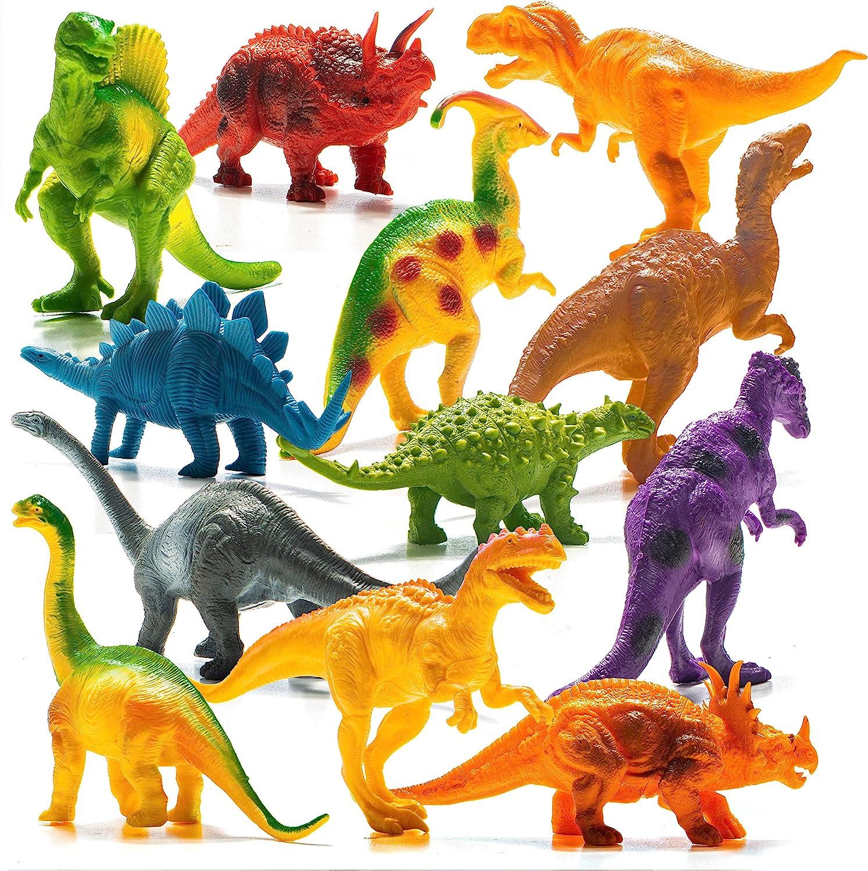 Dinosaurios de Juguete de Aspecto Realista Prextex (18cm) Pack Variado de 12 Figuras Grandes de Dinosaurio de Plástico: Amazon.es: Juguetes y juegos