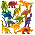 """Prextex Realistic Looking 7"""" Dinosaurs Pack of 12 Toys for Boys and Girls 3 Years Old & Up Large Plastic Assorted Dinosaur Fi"""