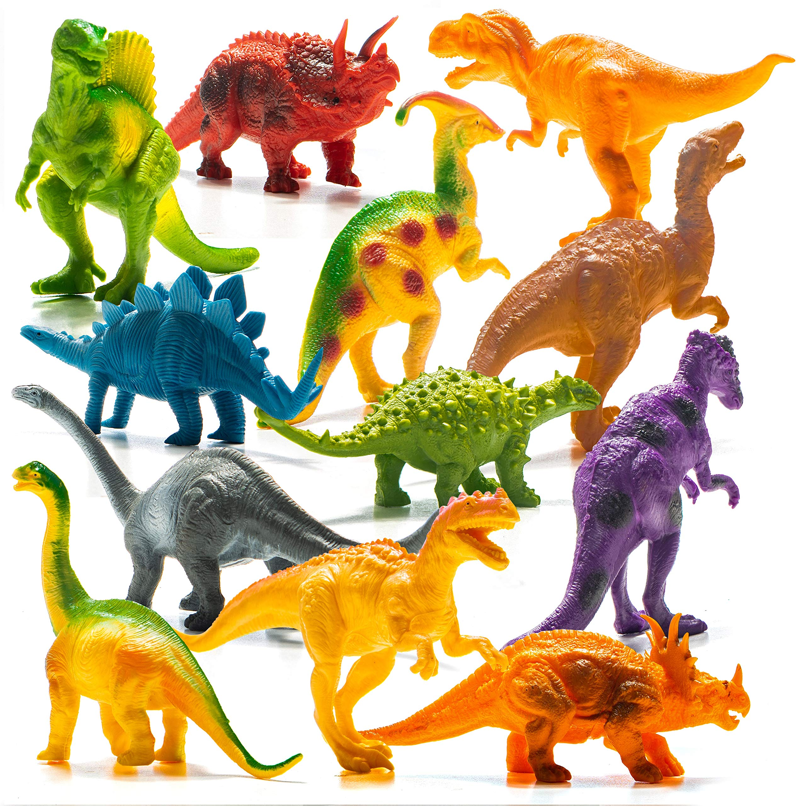 Prextex Realistic Looking 7'' Dinosaurs Pack of 12 Large Plastic Assorted Dinosaur Figures with Dinosaur Book by Prextex