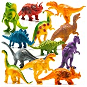 Prextex Realistic Looking 7  Dinosaurs Pack of 12 Large Plastic Assorted Dinosaur Figures with Dinosaur Book