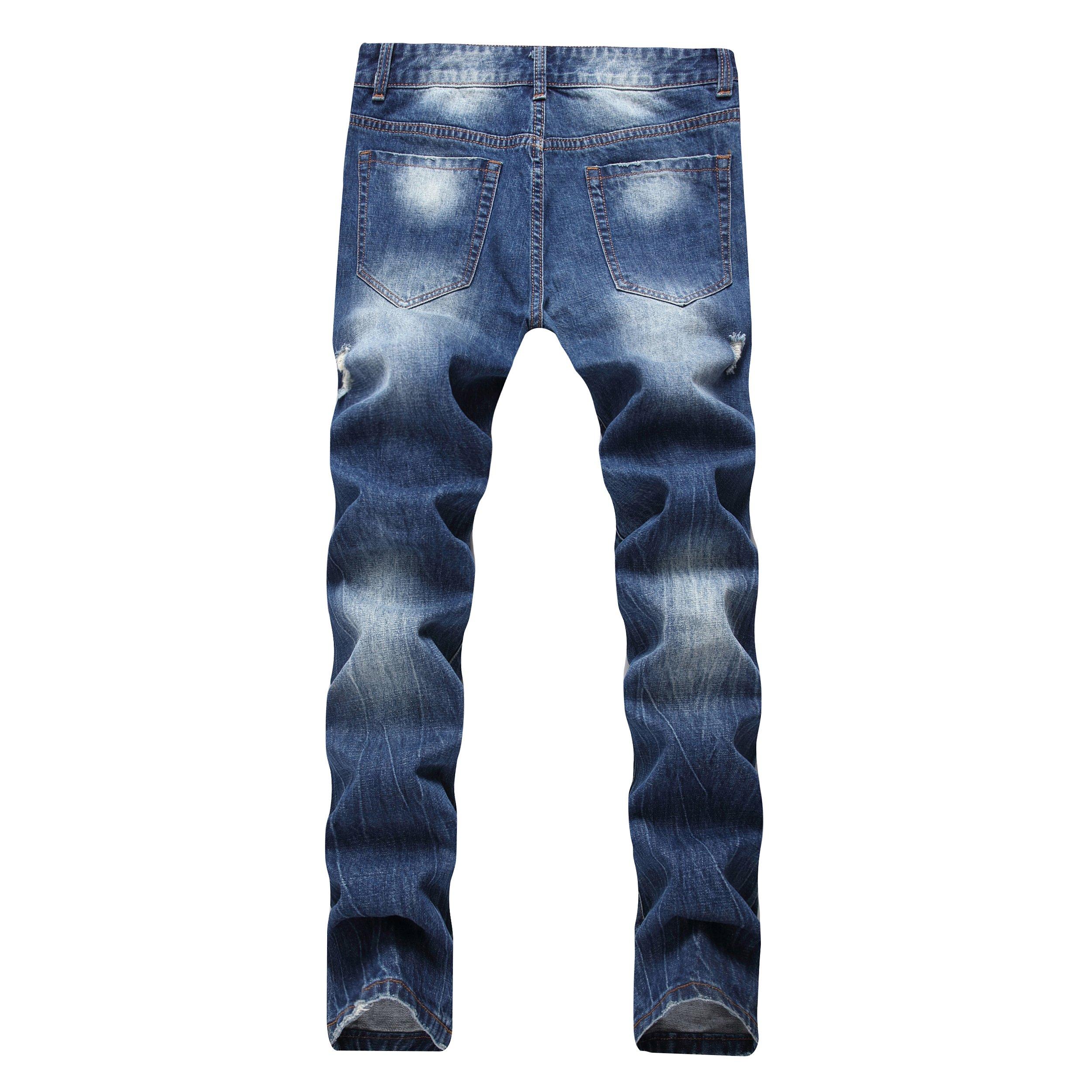 DAVID.ANN Men's Straight Fit Distressed Ripped Denim Jeans,Blue,32 by DAVID.ANN (Image #2)