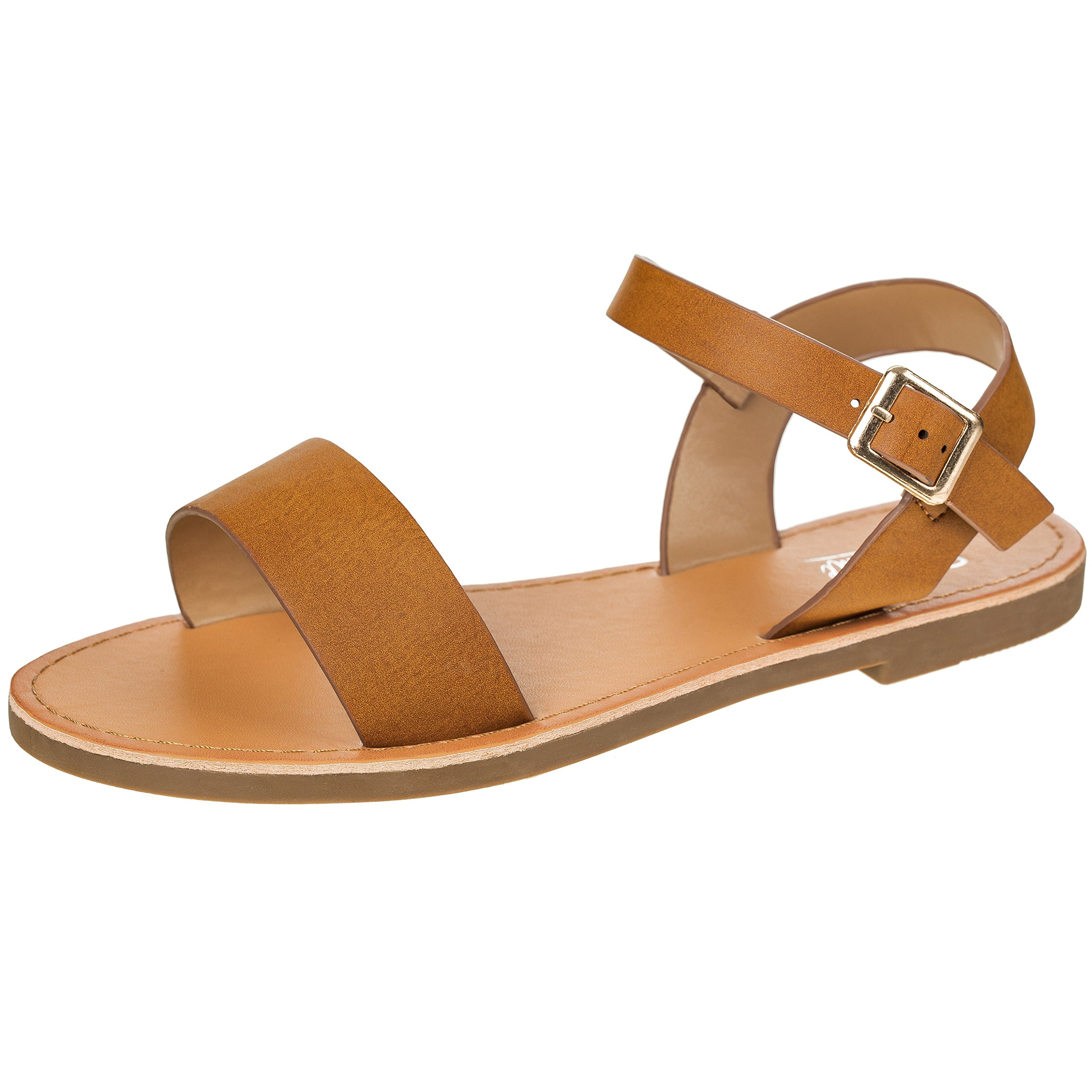 Women's Shoe Comfort Simple Basic Ankle Strap Flat Sandals (10, Chestnut)