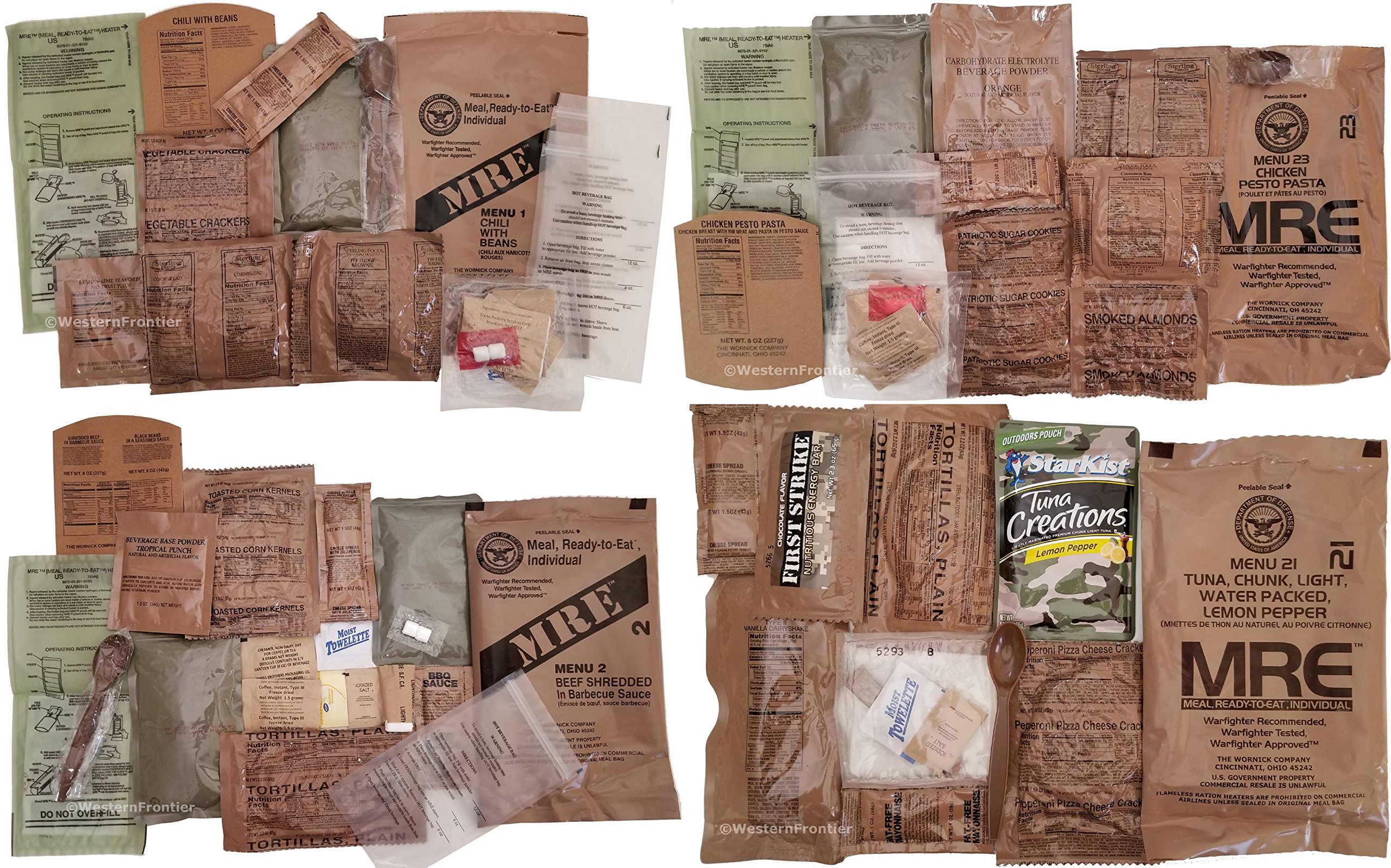 Western Frontier MRE B-Menu Case, 2018 Inspection Date Military Meal-Ready-to-Eat. Case of 12 Genuine US Military Surplus MREs with B-Case Menu Selections. by Western Frontier