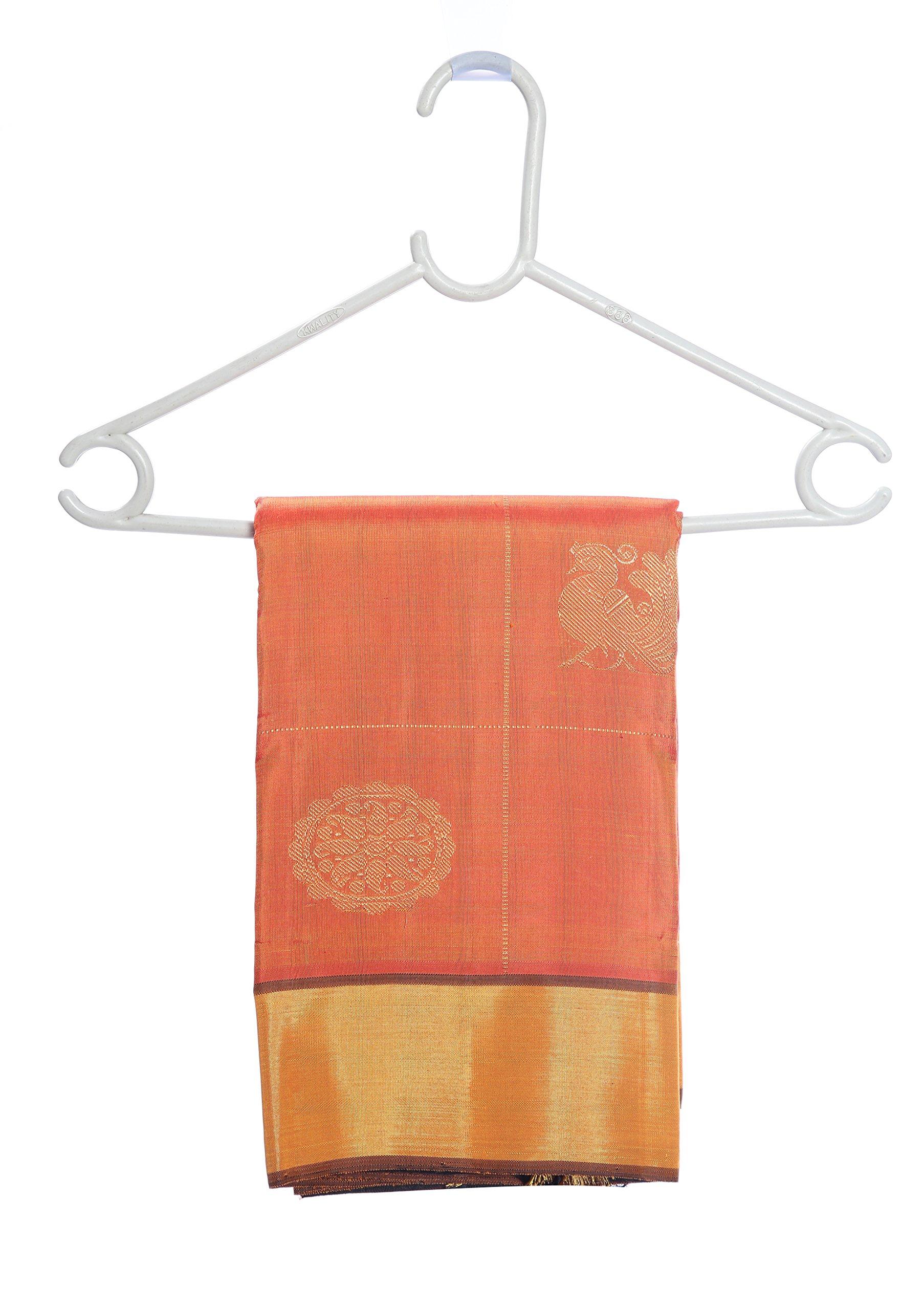 Mandakini — Indian Women's Kanchipuram - Handloom - Pure Zari & Pure Silk Saree (Orange ) (MK207) by Mandakini (Image #6)