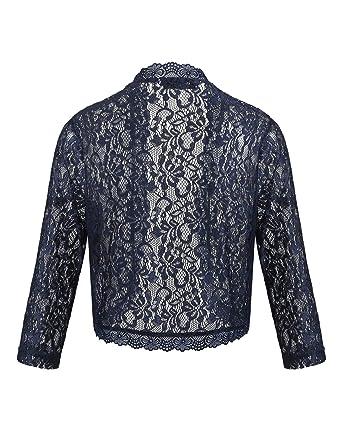 Beyove Women s Casual Lace Crochet Cardigan 3 4 Sleeve Sheer Shrug Cover up  Jacket Plus e78b7cf1b