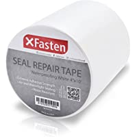 XFasten Waterproof Flex Seal Repair and Leak Shield Tape, White, 4-Inch x 10-Foot, Weatherproof Water Barrier Tape for Chimney, Roof, Boat, and HVAC Hose Repair