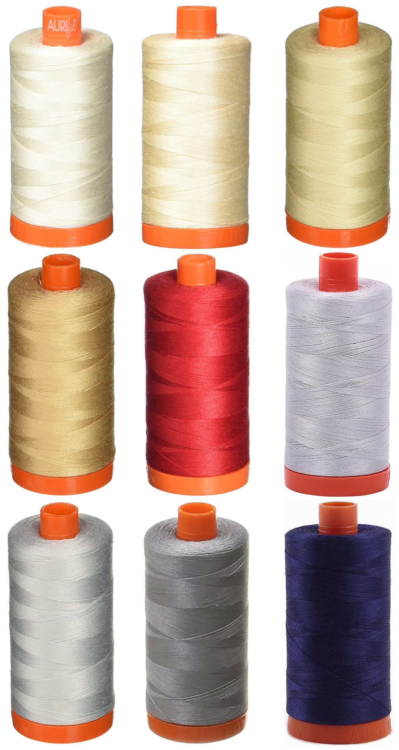 9-PACK - Aurifil 50WT Bundle - Muslin + Light Sand + Light Beige + Beige + Red + Aluminium + Dove + Grey + Dark Navy, - Mako Cotton Thread - 1422Yds EACH by Aurifil