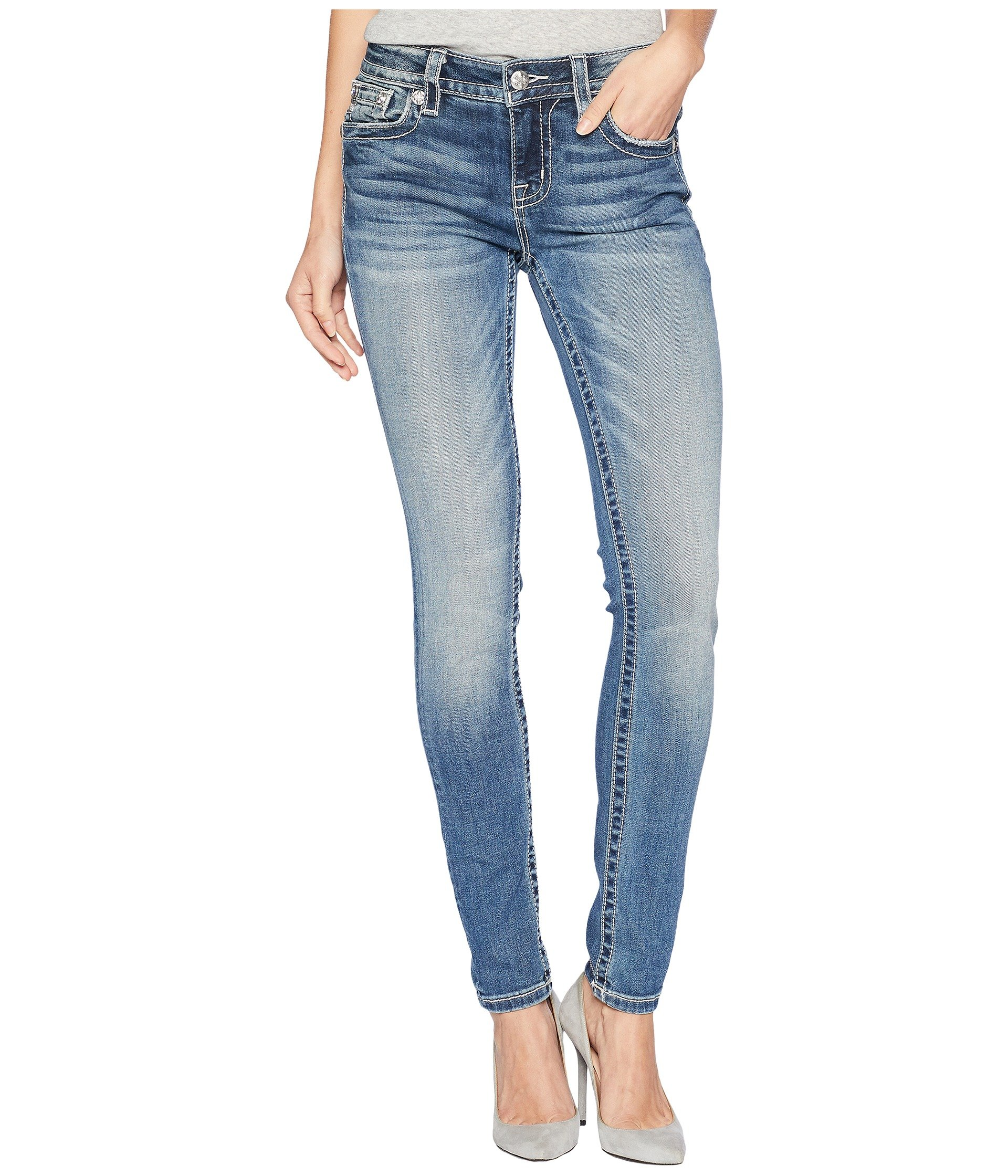 Miss Me Junior's Mid-Rise Skinny Jeans with Ruffled Embellishments, Medium Blue, 28